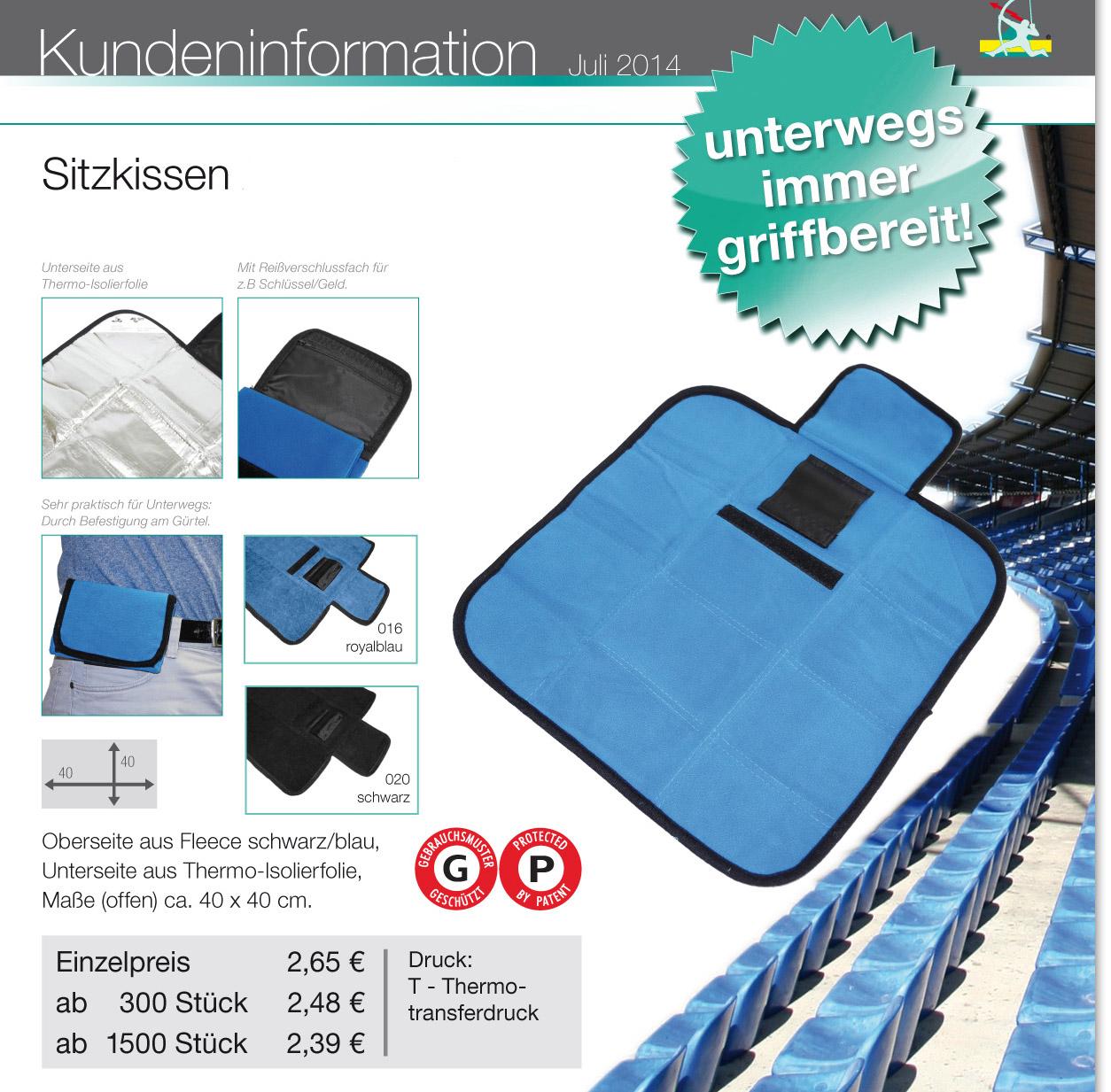 Sitzkissen, Mini-Sitzkissen, mobiles Sitzkissen, Werbe-sitzkissen