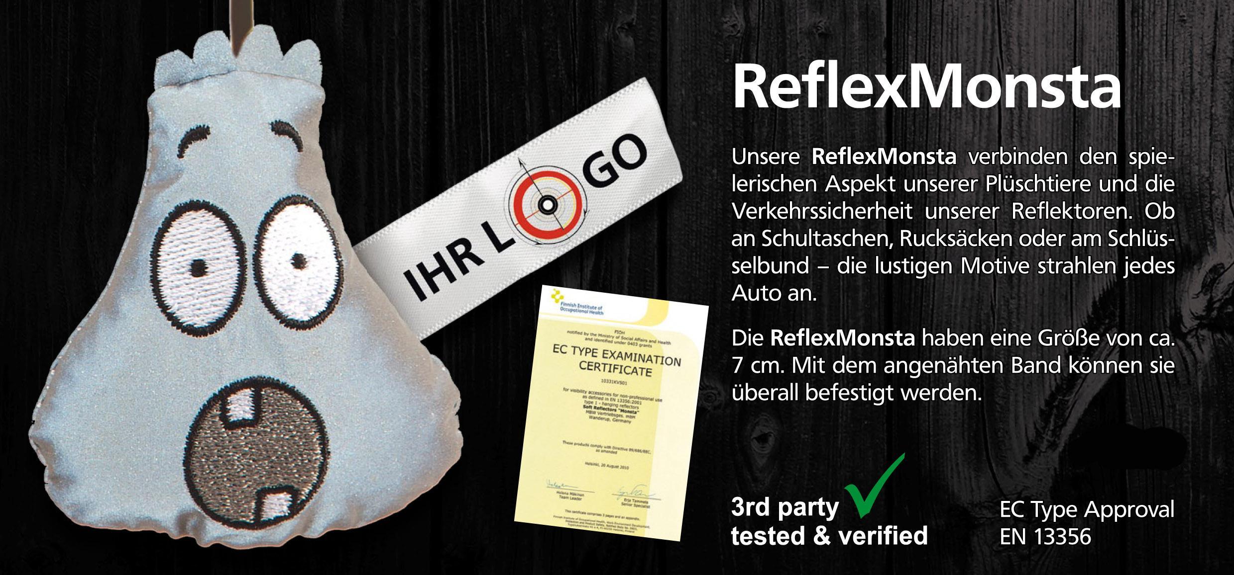 Reflex-Monsta, Reflektierend, Lichtreflekt, Lichtreflektion, Schultasche, Schlüsselanhänger