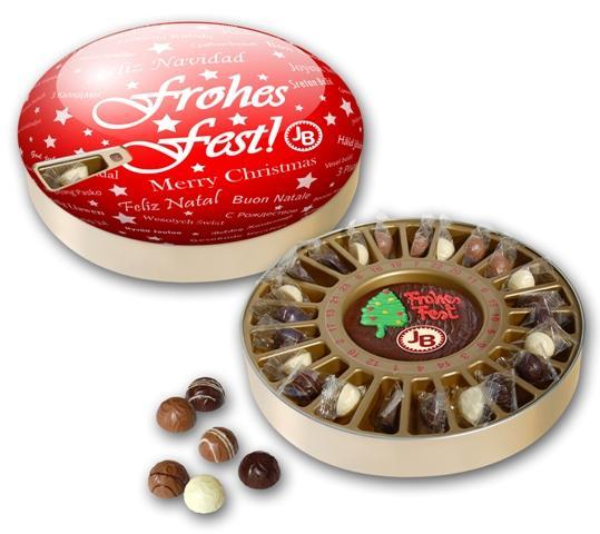 Adventskalender, Trüffel, Weihnachten, Blechdose mit Pralinen, Adventskalender-Dose